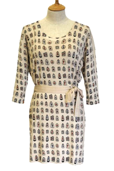 Sk3435 Bird Cage Print Jersey Dress Beige Miss Jolie